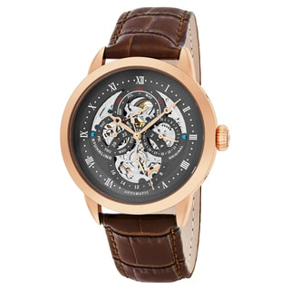Stuhrling Original Men's Automatic Multifunction Legacy Brown Leather Strap Watch
