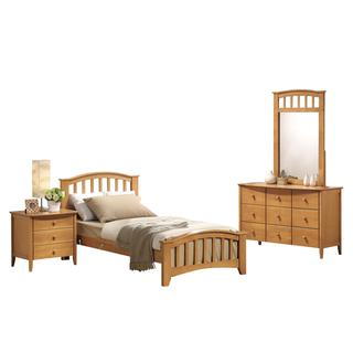 Acme Furniture San Marino 4-Piece Mission Bedroom Set in Maple