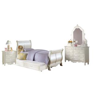 Acme Furniture Pearl 4-Piece Sleigh Bedroom Set in Pearl White