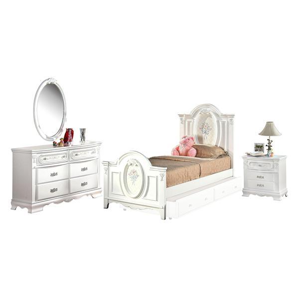 Acme Furniture Flora White 4-Piece Panel Bedroom Set