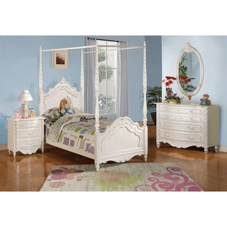 Acme Furniture Pearl 5-Piece Canopy Bedroom Set in Pearl White