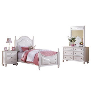 Acme Furniture Athena 4-Piece Tufted Bedroom Set in White
