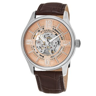 Stuhrling Original Men's Automatic Skeleton Delphi Brown Leather Strap Watch