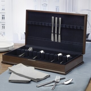 Wallace Distressed Wood 16-service Tarnish-resistant Lining Flatware Chest