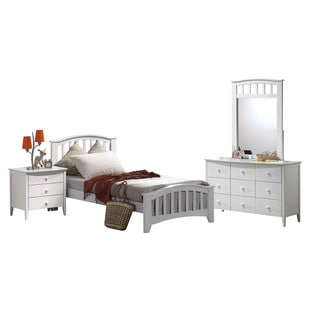 Acme Furniture San Marino White 4-Piece Twin Mission Bedroom Set