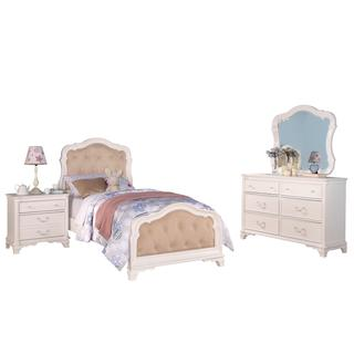 Acme Furniture Ira 4-Piece Tufted Bedroom Set in White