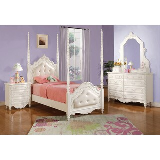 Acme Furniture Pearl 4-Piece Poster Bedroom Set in Pearl White