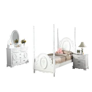 Acme Furniture Flora 4-Piece Poster Bedroom Set in White