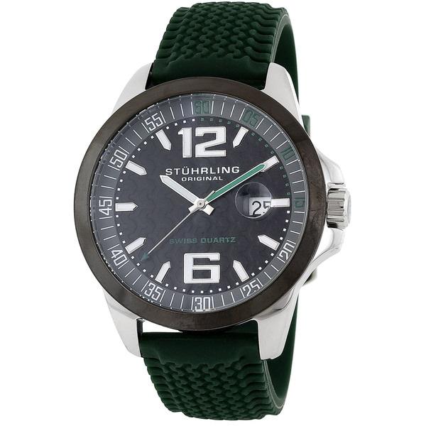 Stuhrling Original Men's Swiss Quartz Monterey Bay Green Rubber Strap Watch
