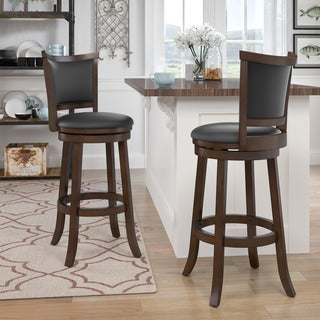 Woodgrove Bonded Leather Brown Wood Barstool (Set of 2)