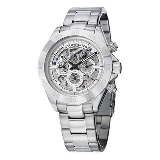 Stuhrling Original Men's Automatic Skeleton Multifunction Stainless Steel Link Bracelet Watch