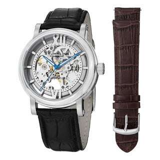 Stuhrling Original Men's Automatic Skeleton 'Winchester XT Watch Set' Black Leather Strap Watch