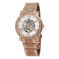 Stuhrling Origjnal Women's Automatic Skeleton 'Legacy' Rose Tone Stainless Steel link Bracelet Watch