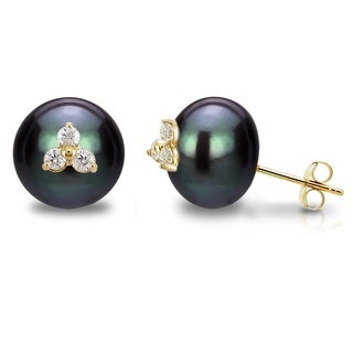 DaVonna 14k Yellow Gold CZ Flower Charms Button Shape 10-11mm Black Freshwater Pearl Stud Earrings