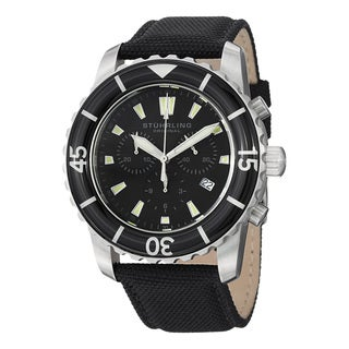 Stuhrling Original Men's Swiss Quartz Chronograph Unidirectional Black Leather Strap Watch