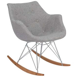 LeisureMod Willow Twill Fabric Eiffel Grey Rocking Chair