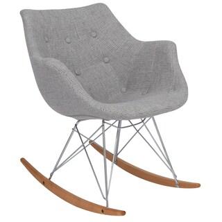 LeisureMod Willow Twill Fabric Eiffel Grey Rocking Chair