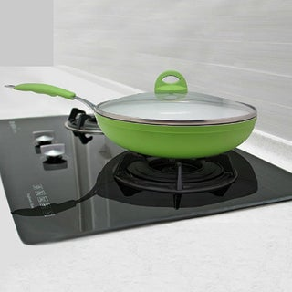 Ceramic 9-inch Frying Pan With Lid (Option: Green)