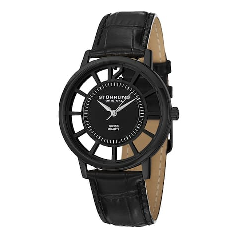 Stuhrling Original Men's Swiss Quartz Skeleton Winchester Black Leather Starp Watch