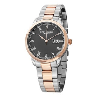 Stuhrling Original Men's Swiss Quartz Symphony Two Tone Stainless Steel Link Bracelet Watch