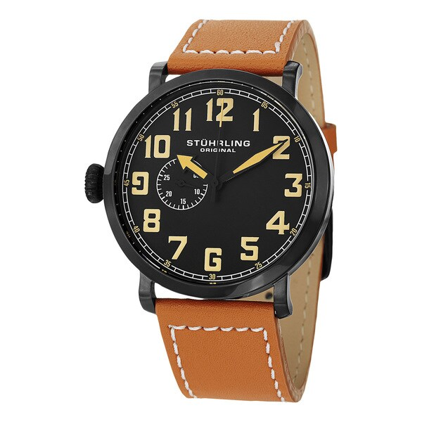 Stuhrling Original Men's Quartz Montertey Tan Leather Strap Watch