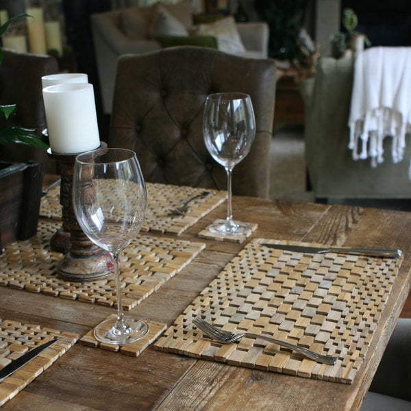 Handmade Tan Teak Placemats, Set of 2 (Indonesia). Opens flyout.