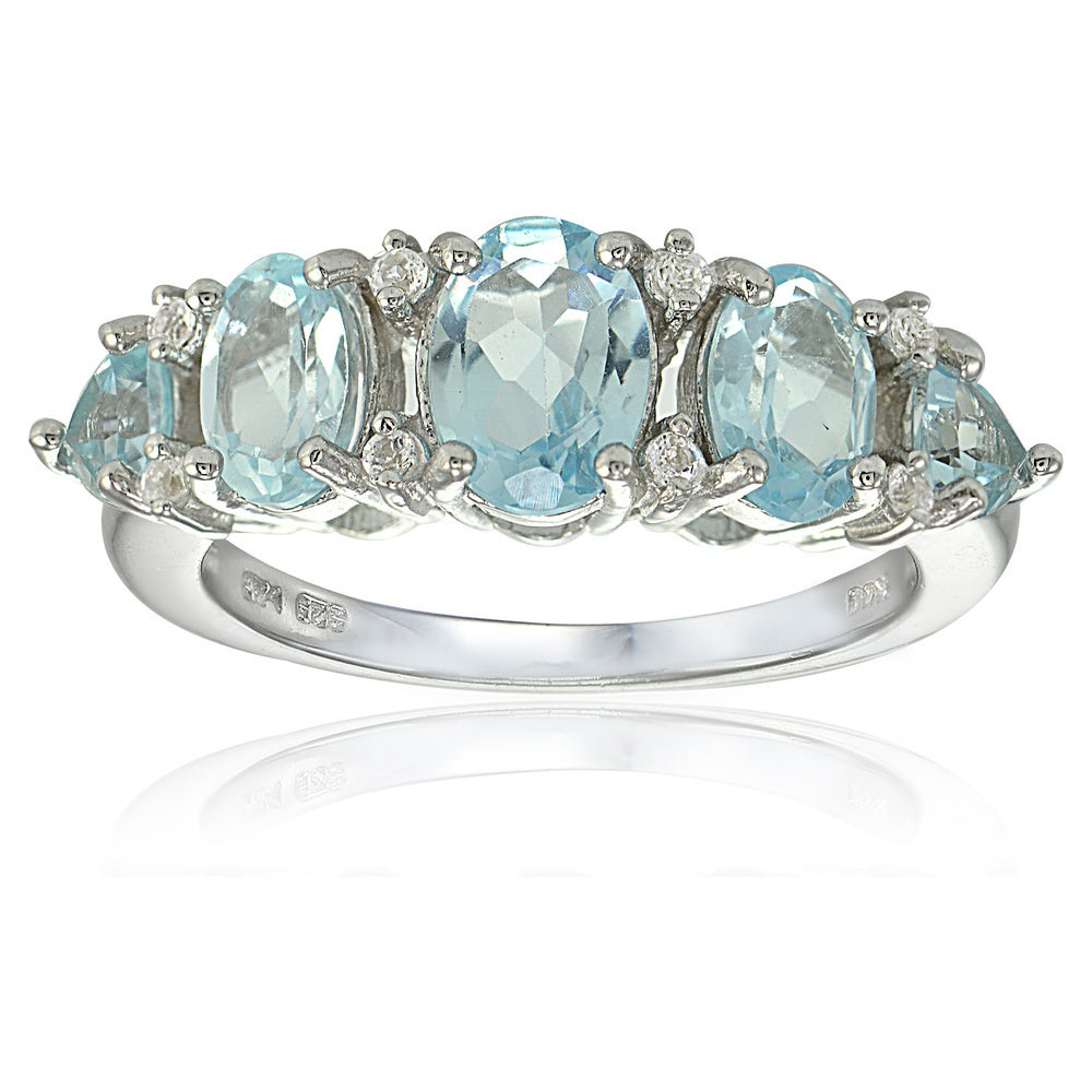 New Old Stock MULTI GEMSTONE RING Size 8.5 \u2013 Polar Ice Baby Blue Chalcedony Center With Facetted Gemstones \u2013 Vintage Sterling Silver