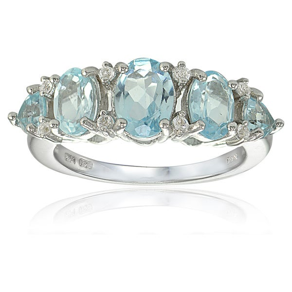 Glitzy Rocks Sterling Silver Blue and White Topaz 5-stone Ring. Opens flyout.