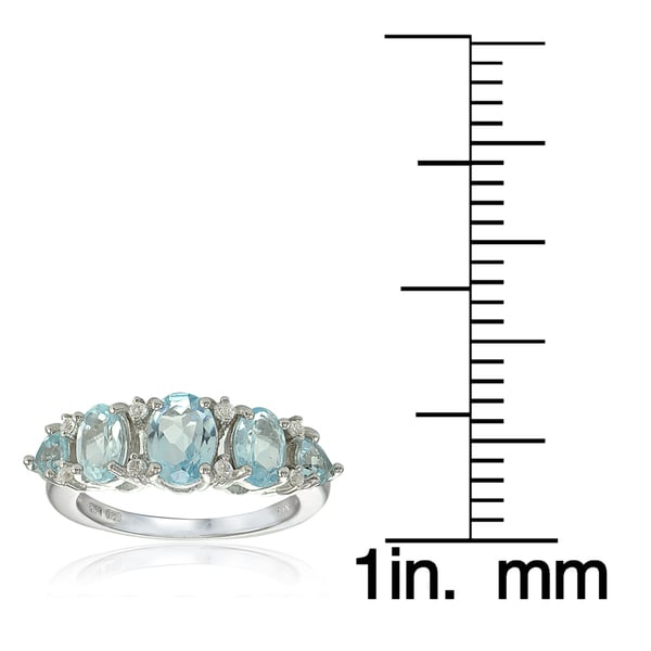 Glitzy Rocks Sterling Silver Blue and White Topaz 5-stone Ring