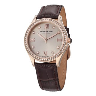Stuhrling Original Women's Swiss Quartz Crystal Vogue Brown Leather Strap Watch