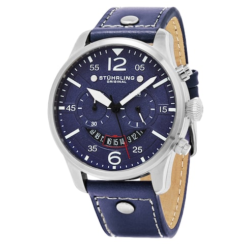 f65d7ee71 Stuhrling Original Men's Quartz Chronograph Aviator Blue Leather Strap Watch