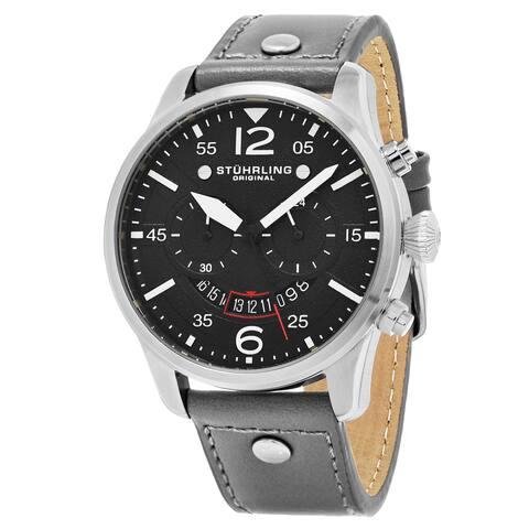 Stuhrling Original Men's Quartz Chronograph Aviator Grey Leather Strap Watch