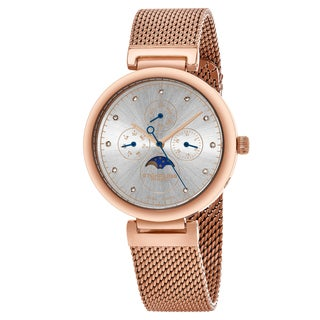 Stuhrling Original Women's Swiss Quartz Multifunction Symphony Rose tone Mesh Bracelet Watch