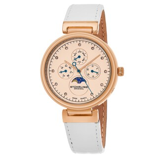 Stuhrling Original Women's Swiss Quartz Multifunction Symphony White Leather Strap Watch