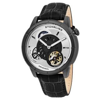 Stuhrling Original Men's Automatic Dual Time Open Heart Legacy Black Leather Strap Watch