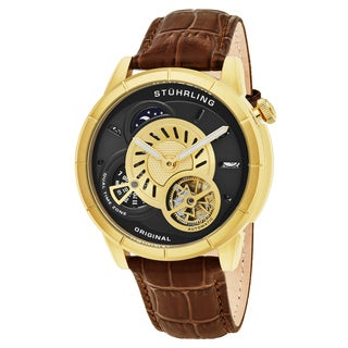 Stuhrling Original Men's Automatic Dual Time Open Heart Legacy Brown Leather Strap Watch
