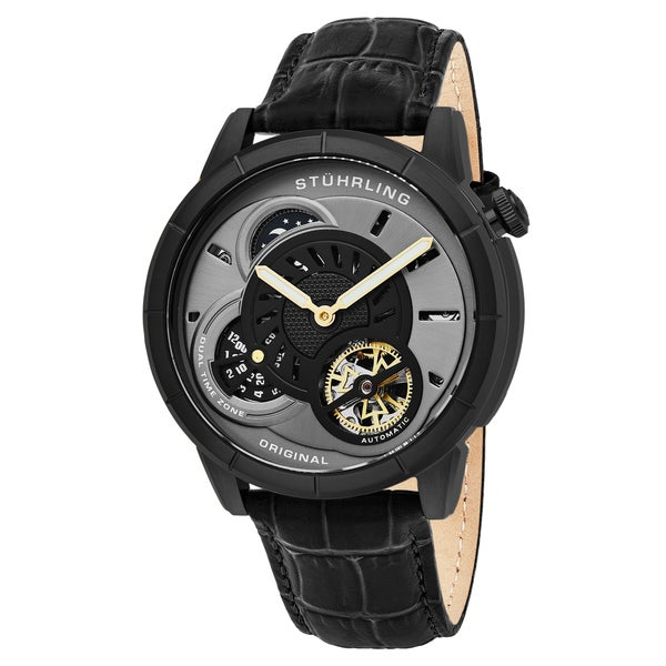 Stuhrling Original Men's Automatic Dual Time Open Heart Black Leather Strap Watch