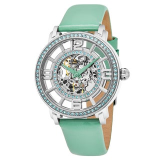Stuhrling Original Women's Automatic Skeleton Crystal Legacy Seafoam Green Leather Strap Watch