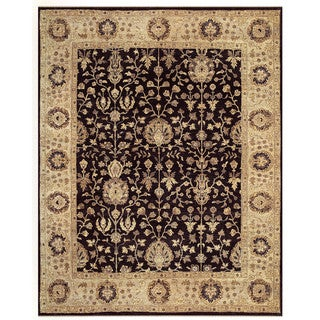 Grand Bazaar Black/Beige Hand Knotted Haverly Rug (5' 6 x 8' 6)