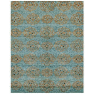 """Grand Bazaar Teal Hand Knotted Timeo Rug (5' 6 x 8' 6) - 5'6"""" x 8'6"""""""