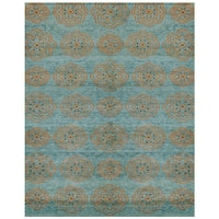 """Grand Bazaar Teal Hand Knotted Timeo Rug (5' 6 x 8' 6) - 5'-6"""" x 8'-6"""""""