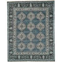 """Grand Bazaar Dark Blue / Gray Hand Knotted Alden Rug (5' 6 x 8' 6) - 5'-6"""" x 8'-6"""""""
