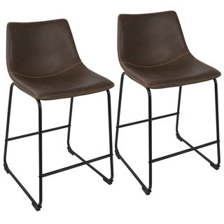 The Gray Barn Horseshoe Faux Leather Counter Stool (Set of 2)