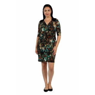 24/7 Comfort Apparel Peacock Pretty and Brilliant Style Faux Wrap Dress Plus Sized