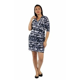 24/7 Comfort Apparel On Trend and Timeless Batik Faux Wrap Dress Plus Size