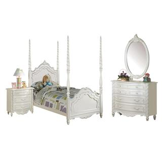 Acme Furniture Pearl 4-Piece Poster Bedroom Set in Pearl White (2 options available)