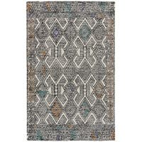 Grand Bazaar Binada Black / Tangerine Area Rug - 8' x 11'