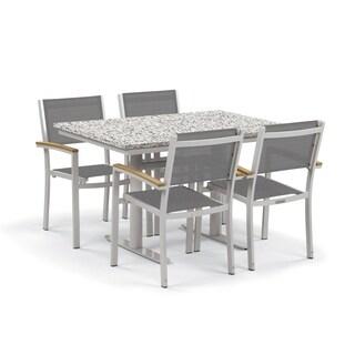Oxford Garden Travira 5-Piece Bistro Set with 34-inch x 48-inch Lite-Core Ash Table - Natural Tekwood, Titanium Sling