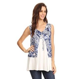Women's Botanical Pattern Rayond Blend Sleeveless Tunic