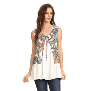 Women's Rayon and Spandex Sleeveless Paisley Pattern Tunic